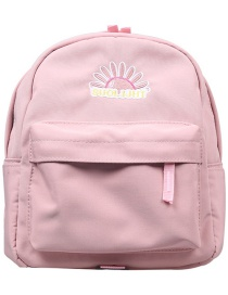 Fashion Pink Rainbow Alphabet Embroidery Kids Backpack