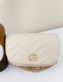 Fashion Creamy-white Childrens One-shoulder Messenger Bag With Embroidery Thread Letters