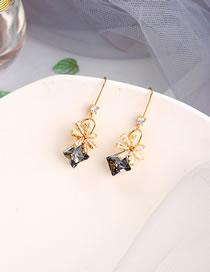 Fashion Transparent Black Geometric Flower Irregular Diamond Alloy Earrings