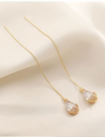 Fashion Gold Color Color Water Drop Alloy Tassel Earrings