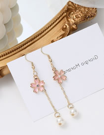 Fashion Gold Color Color Small Flower Pearl Drip Oil Tassel Alloy Earrings