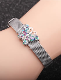 Fashion Just Color Strap + White Gold Color Butterfly Butterfly Belt Buckle Stainless Steel Mens Bracelet