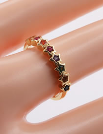 Fashion Color Mixing Micro-set Zircon Five-pointed Star Open Ring