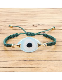 Fashion Dark Green Eyes Handmade Rice Beads Woven Letters Gold Color-plated Shell Bracelet