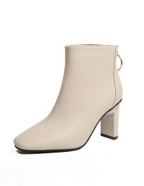 Fashion Creamy-white Square Toe High Heel Back Zip Ankle Boots