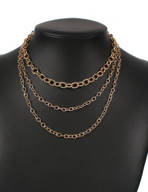Fashion Gold Color Alloy Multilayer Chain Necklace