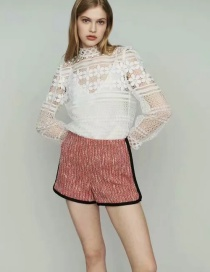 Fashion Pink Tweed Contrast Shorts