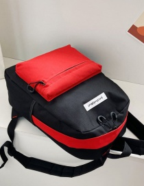 Fashion Black + Red Canvas Stitching Contrast Backpack