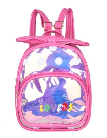 Fashion Small Rose Childrens Backpack With Laser-printed Alphabet Bow