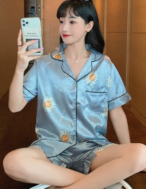 Fashion Blue Daisy Faux Silk Printed Cardigan Short-sleeved Thin Homewear Pajamas Set