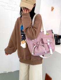 Fashion Pink Plush Pendant Drawstring Buckle Stitching Shoulder Messenger Bag