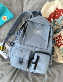 Fashion Blue Without Pendant Solid Color Letter Logo Stitching Backpack
