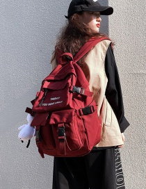 Fashion Red Send Plush Pendant Mortise Lock Letter Embroidery Large Capacity Backpack
