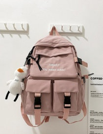 Fashion Pink Plush Pendant Mortise Lock Letter Embroidery Large Capacity Backpack