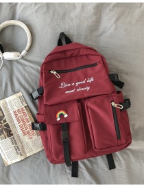 Fashion Wine Red Without Pendant Contrast Letter Embroidered Backpack