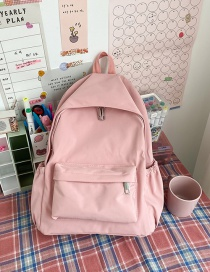 Fashion Pink Solid Color Stitching Nylon Backpack With Zipper