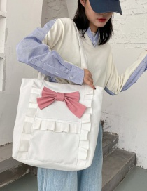Fashion White Pink Bow Pleated Bow Contrast Canvas Shoulder Bag