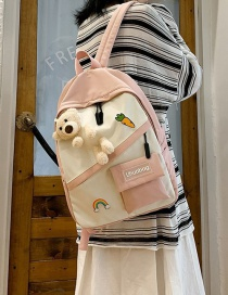 Fashion Pink Bear Doll Stitching Contrast Color Backpack