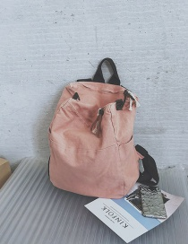 Fashion Pink Solid Color Large Capacity Canvas Backpack