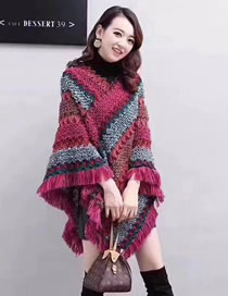 Fashion Rose Red Contrasting Raw Edge Knitted Bat Pullover Shawl
