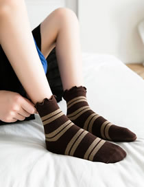 Fashion Dark Brown Contrasting Striped Pile Of Socks
