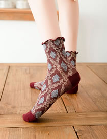 Fashion Red Wine Contrasting Color Big Diamond-shaped Wood Ears In Tube Pile Socks