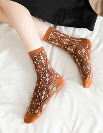 Fashion Orange Pure Cotton Small Rhomboid Socks