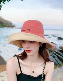 Sombrero Pescador De Doble Cara Plegable Con Bordado De Letras Sonrientes