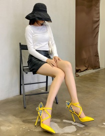 Fashion Yellow Pointed Hollow Cross Strap Butterfly Stiletto Shoes