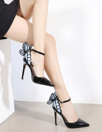 Fashion Black Stiletto Pointed Toe Hollow One-line Buckle Butterfly Shoes
