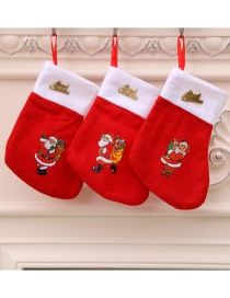 Fashion Red Non-woven Stitching Contrast Color Christmas Socks