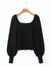Fashion Black Rabbit Fur Blend Square Neck Lantern Sleeve Sweater