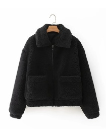 Fashion Black Solid Color Plush Jacket With Pocket Lapel