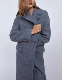 Fashion Haze Blue Textured Double Button Coat Jacket