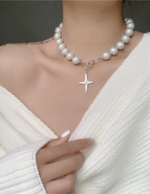 Fashion White Cross Beaded Alloy Necklace
