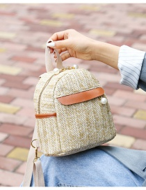 Fashion Khaki Straw Knitted Contrast Pearl Chain Backpack