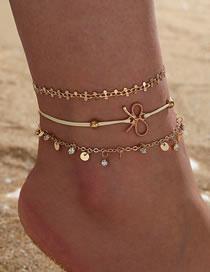 Fashion Gold Color Tassel Rhinestone Bow Sequin Multilayer Anklet