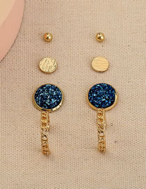 Fashion Gold Color Crystal Cluster Round Chain Alloy Earring Set