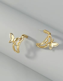 Fashion Gold Color Butterfly Alloy Hollow Geometric Earrings