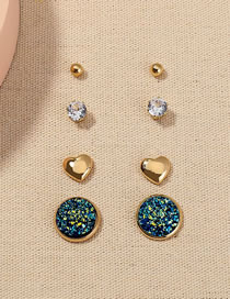 Fashion Gold Color Zircon Crystal Cluster Love Alloy Earring Set