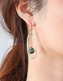Fashion Silver Color Color Tassel Natural Stone Geometric Alloy Earrings