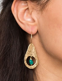 Fashion Gold Color Plane Gourd Natural Stone Earrings