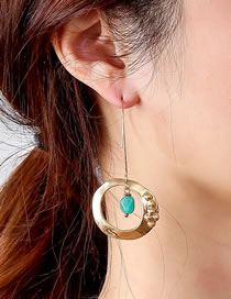 Fashion Gold Color Long Round Aventurine Natural Stone Earrings