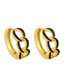 Fashion Black Micro-set Zircon Twist Earrings