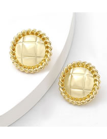 Fashion Gold Color Alloy Striped Round Earrings