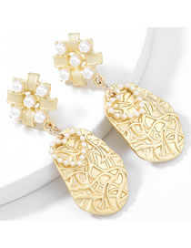 Fashion Gold Color Alloy Inlaid Pearl Flower Geometric Earrings