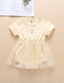 Fashion Beige Embroidered Small Chrysanthemum Mesh Skirt Baby Romper
