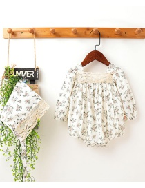 Fashion Long Sleeve Open Back Small Floral Cotton Short-sleeved Baby Jumpsuit