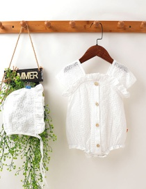 Fashion White Lace Jacquard Baby Romper With Fungus