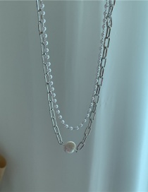 Fashion Silver Color Double Layer Geometric Pearl Alloy Double Necklace